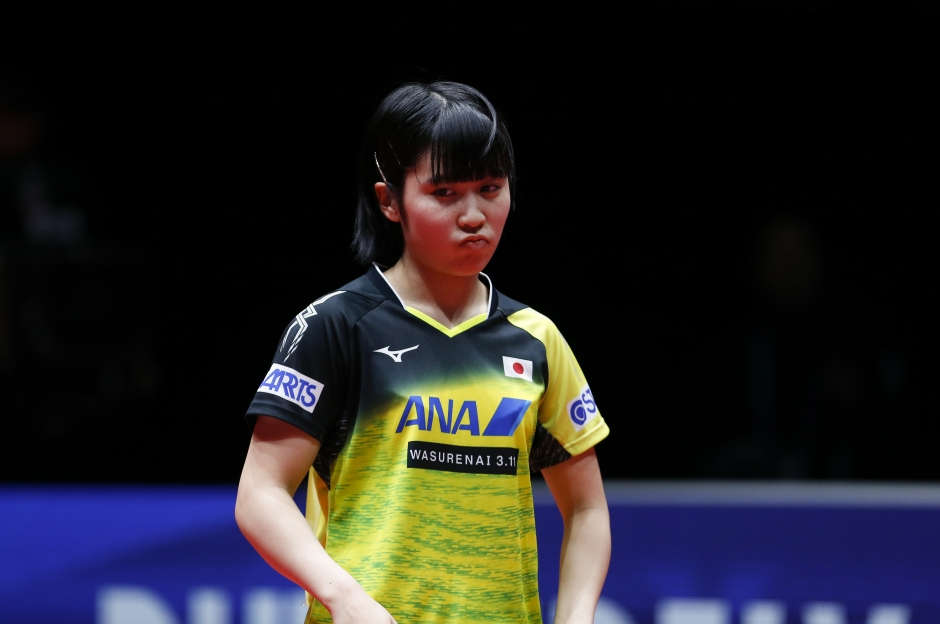hirano miu of japan reacts during the game against ding ning of